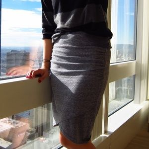 Dresses & Skirts - Grey body con faux wrap jersey skirt